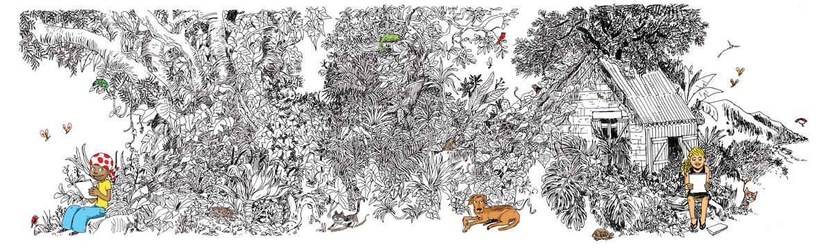 Les éditeurs de l'Île de La Réunion au Salon du livre de Paris- Dessin de Moniri M'Baé